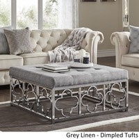 Solene Chrome Quatrefoil Base Square Ottoman Coffee Table by iNSPIRE Q Bold | Overstock.com Shopping - The Best Deals on Ottomans