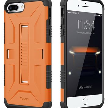 iPhone 7 Plus Case iPhone 8 Plus Case, Yesgo Military Heavy Duty Hybrid Rugged Protective Case for Apple iPhone 7/8 Plus Non-slip Grip, Orange