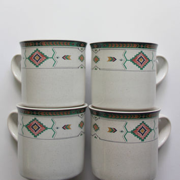 Vintage Studio Nova Stoneware Adirondack - Aztec - Pattern Set of 4 Coffee Mugs 1980s