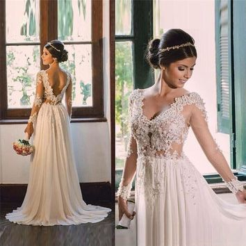 Cheap Vintage Lace Long Sleeve Beach Wedding Dress 2017 Sexy See Through Appliques V Neck Backless Chiffon Boho Vestido De Noiva