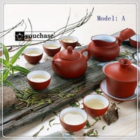 3 Colors 6Pcs Genuine China YiXing Purple Filtered Tea Sets includes 8 Crude Ceramics Tea Cups 1 teapot 1 Gaiwan 1 Filter