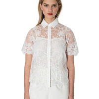 White Short Sleeve Floral Lace Blouse With Collar