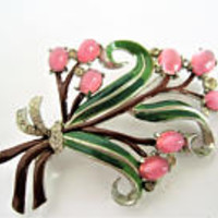 Enamel Bouquet Brooch, Pink Moonstone Cabachons, Rhodium Setting, Green Enamel Leaves, Rhinestones Surrounding