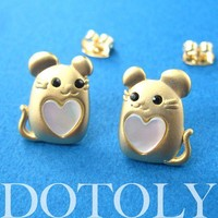 Mouse Cute Animal Earrings in Gold with Pearl Heart Detail ALLERGY FRE