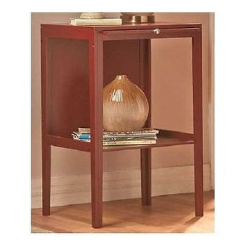 End Table Walnut Wooden Side Stand Wood Furniture Writer Entry Shabby Chic NEW