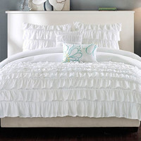 Full/Queen 5-Piece White Comforter Set with 2 Shams & 2 Decorative Pillows
