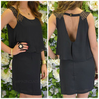 Gables Black Tiered Lace Strap Dress