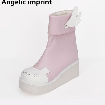 Angelic imprint mori girl Women cosplay shoes lady lolita ankle Boots woman princess dress boots high heels pumps sweet wings 45