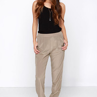 All About It Taupe Jogger Pants