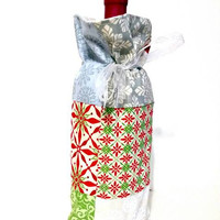Winter Holiday Christmas Green, Red, White, Silver Patchwork Fabric Reusable Drawstring Gift Bag Present Gift Wrap Wine Hostess Bag Sleeve