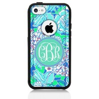 iPhone 5c Case [Black] Lilly Monogram Blue [Dual Layer] UnnitoTM *1 Year Warranty* Case Protective [Custom] Commuter Protection Cover [Hybrid]
