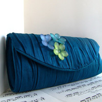 Deep teal gathered silk clutch with flowers formal by toriska
