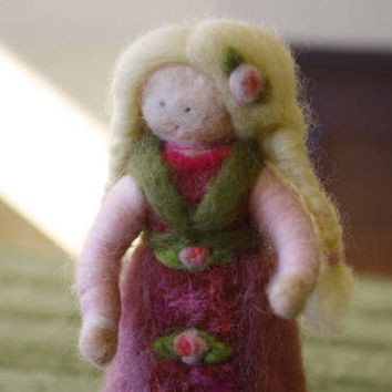 Doll, Puppe, кукла Waldorf carded needle felted Merino Wool ethnic, with embroidered silk inserts