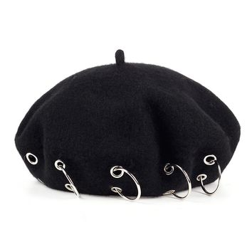 2017 winter Hats new Harajuku Berets Darkness Gilr Punk Rock Style iron rings beret Cap 17th-century Black Woolen Painter cap