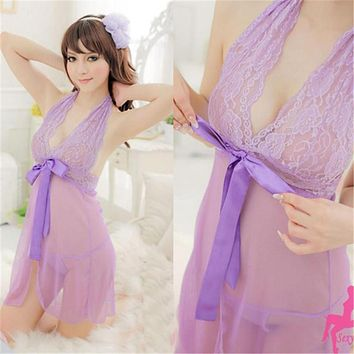 2017 Summer Sexy Girls Lace Nightie See Through Lingerie G-string Thong Sleepwear Women Fashion Candy Color Delight Nightgown