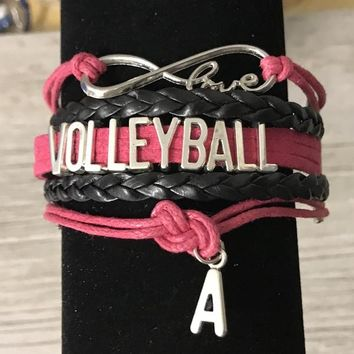 Personalized  Volleyball Infinity Bracelet - Pink