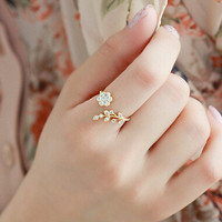 Gift Jewelry New Arrival Shiny Diamonds Korean Stylish Floral Ring [11192813652]