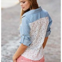 LACE BACK CHAMBRAY SHIRT