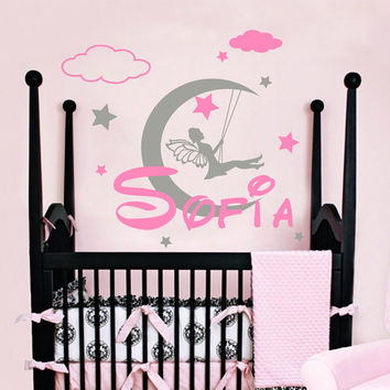 Wall Decals Vinyl Sticker Decal Home Decor Murals Custom Personalized Name Tinkerbell Fairy Moon Girl Bedroom Nursery Dorm MM35