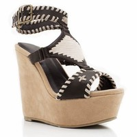 stitched-leather-wedges BROWN - GoJane.com