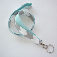 Lanyard ID Badge Holder - Gray zig zag chevron with Aqua or coral   - Lobster clasp and key ring - keychain
