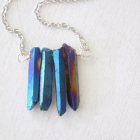 Electric Blue Titanium Quartz Necklace - Natural Quartz Blue Titanium Rock Crystal Points Pendant Necklace Silver Chain stone no.3