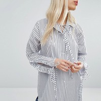 STYLENANDA Relaxed Oversized Shirt With Ruched Sleeves in Stripe at asos.com