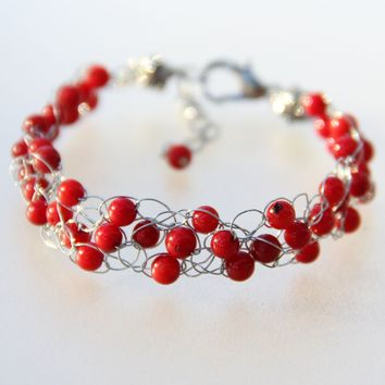 Red Coral Chunky crochet wiring beaded bracelet Bridesmaids gifts Free US Shipping handmade Anni designs