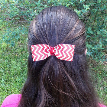 Girls Chevron Hair Bow, Red and White, single bow, knot center