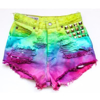 Any Size High Waisted Bright Rainbow Dyed Distressed Frayed Denim Shorts