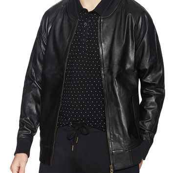 Barney Cools Men's Classic Leather Bomber Jacket - Black -