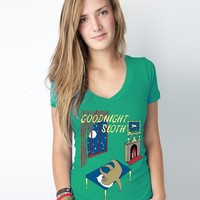 Supermarket: Goodnight Sloth Women's Deep V-Neck from Sharp Shirter