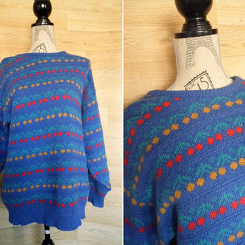 80's Laura Ashley Floral Jumper Fairisle Sweater Nordic Sweater Slouchy Sweater Oversize sweater Rose pattern Hipster Sweater 80s clothing