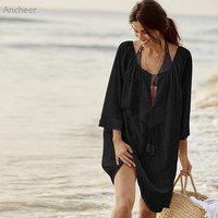 Cover ups Bikini Sexy Cotton Loose Swimwear Women Solid Lace Beach Cover-Up Bathing Suits  KO_13_1