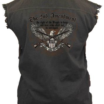 "Sleeveless Denim Shirt ""2nd Amendment: Right to Bear Arms"""