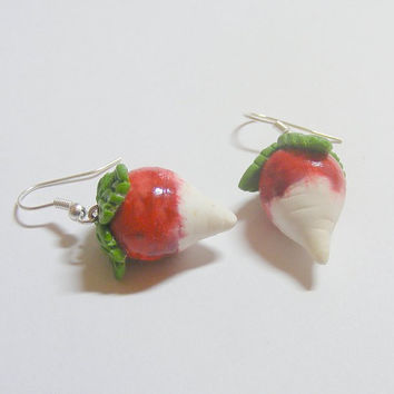 Radish Earrings Harry Potter Luna Lovegood inspired - Miniature Food Jewelry