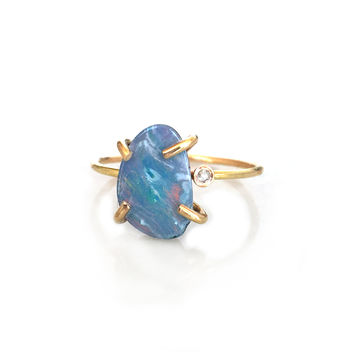 14kt Gold Filled Diamond and Opal Doublet Claw Ring