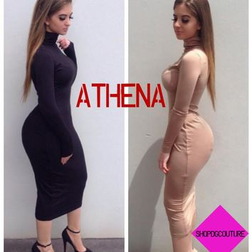 Athena Bodycon Collared Long Sleeve Knee Length Dress