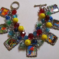 Parrot Altered Art Charm Bracelet Red Blue Yellow Beaded Handmade Jewelry