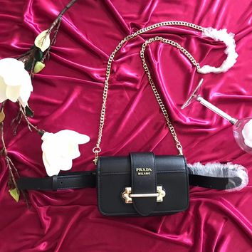 ''Prada'' Women Shopping Leather Metal Chain Crossbody Satchel long paragraph Waist bag