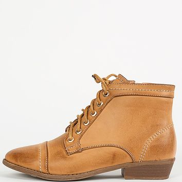 Bamboo Charm-01 Burnish Lace Up Ankle Boots | MakeMeChic.com