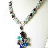 Pearl Necklace, Art Deco Necklace, Faux Rhinestones