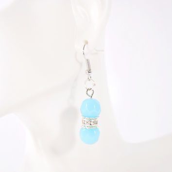 Aqua Blue Facet Bead With Silver Plated Dangle Earrings