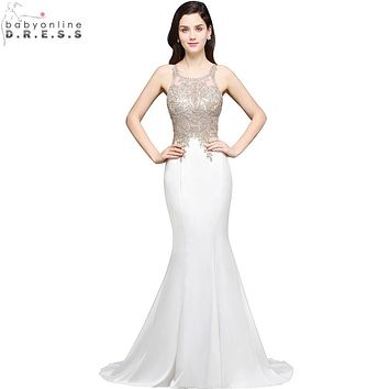 Robe de Soiree Longue Sexy Sheer Back Beaded Lace Mermaid Evening Dress 2017 Long Cheap White Evening Gown Vestido de Festa