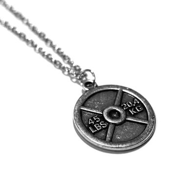 45lb Plate Charm Necklace - Weightlifting Exercise Crossfit Jewelry Fitness Charm Lifting Barbell Dumbbell Kettlebell Pendant Handmade Gift