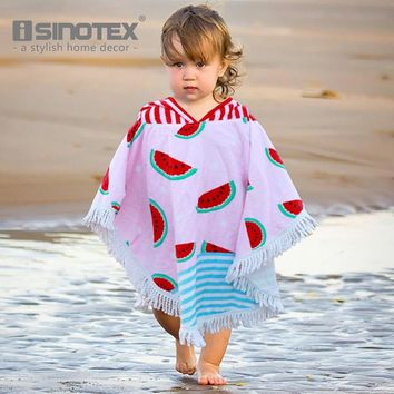 Hooded Towels 90x120cm Hoodie 100% Cotton Watermelon Pattern Children's Bath Beach Towel Cloak For Kids toalha de banho