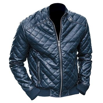 Mens Black Diamond Quilted Leather Jacket