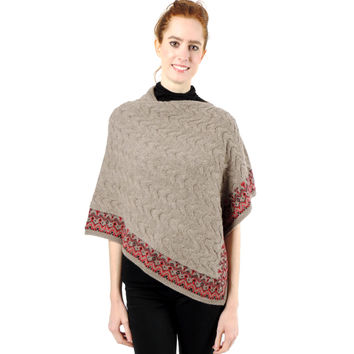 Baby Alpaca Asymmetrical Cable Knit Poncho Sweater - Oatmeal