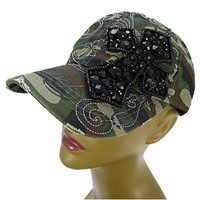 Vintage Beaded Rhinestone Bling Cross Hat Baseball Cap Women's (Camo)