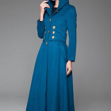 Luxury Woman's Coat - Modern Blue Military Style Warm Wool Single-Breasted Long Designer Coat (1409)